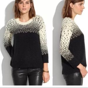 Madewell wool sweater with cross stitch design